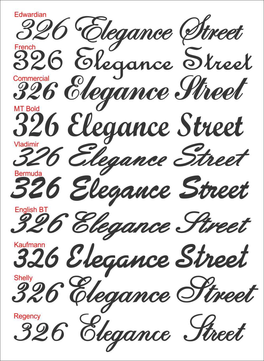Script house number and street name signs in textured black bermuda font