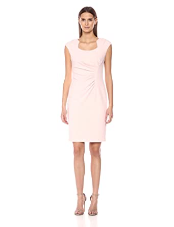 a0dea18b Calvin Klein Women's Cap Sleeved Sheath with Horseshoe Neckline Dress,  Petal, ...
