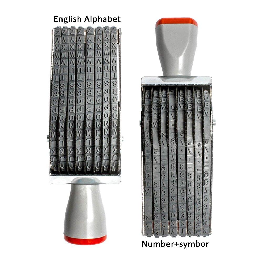 fai da te multi-funzione multiuso timbri di gomma inglese alfabeto numero simbolo Rolling Wheel timbro 8/cifre timbro a rullo