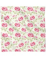 Pink Roses with Green Leaves Satin Style Scarf