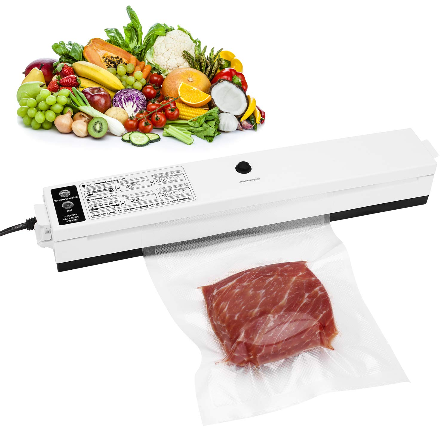 Vacuum Sealer, XBrands Food Sealer Machines One-button Vacuum Sealing System for Household Commercial Use of Food Preservation with Gift Vacuum Bag