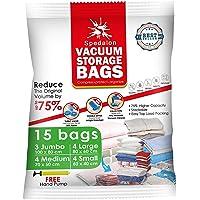 Vacuum Storage Bags - Pack of 15 (3 Jumbo + 4 Large + 4 Medium + 4 Small) ReUsable Space Savers | Free Hand Pump for…