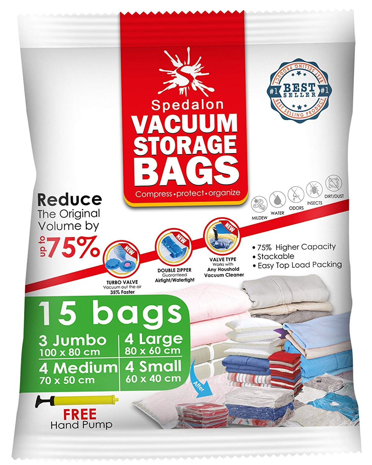 Vacuum Storage Bags - Pack of 15 (3 Jumbo (100x80cm) + 4 Large (80x60) + 4 Medium (70x50) + 4 Small (60x40)) ReUsable space savers with free Hand Pump for travel packing. Best Sealer Bags for Clothes, Duvets, Bedding, Pillows, Blankets, Curtains Spedalon