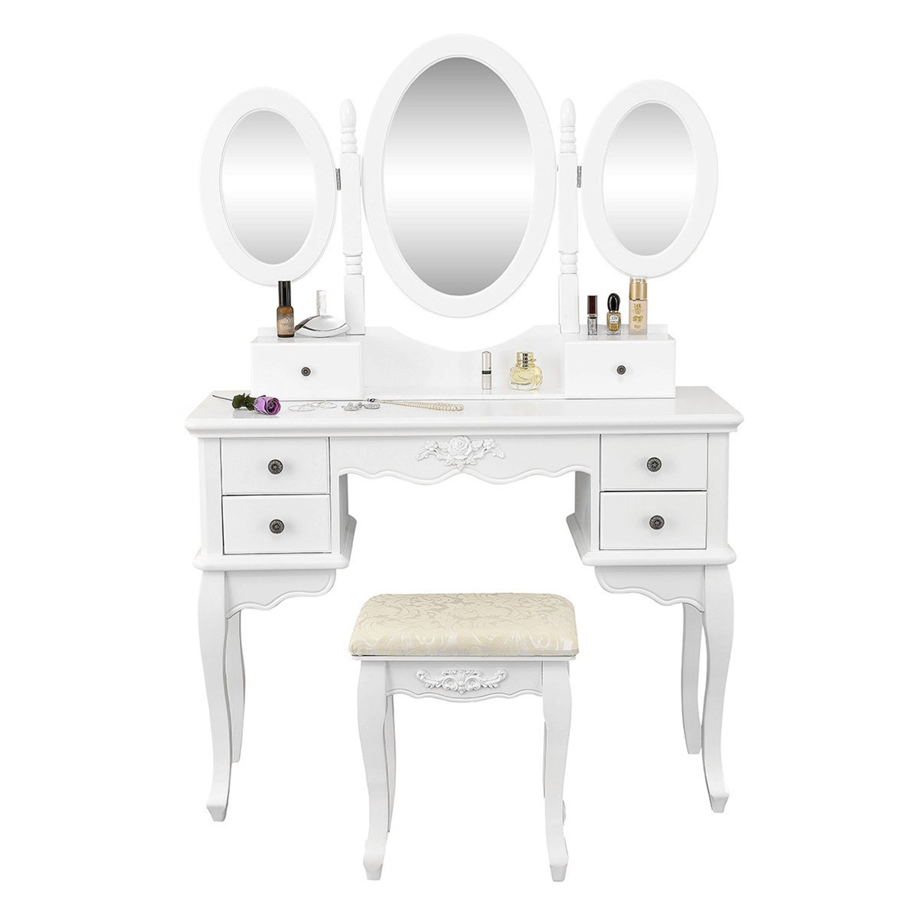 Vanity Table Set 3 Folding Mirror Make Up Dressing Table with Padded Stool & 6 Drawers, White