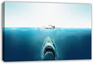 """JAWS THE MOVIE GREAT WHITE SHARK CANVAS WALL ART (44"""" X 26"""")"""