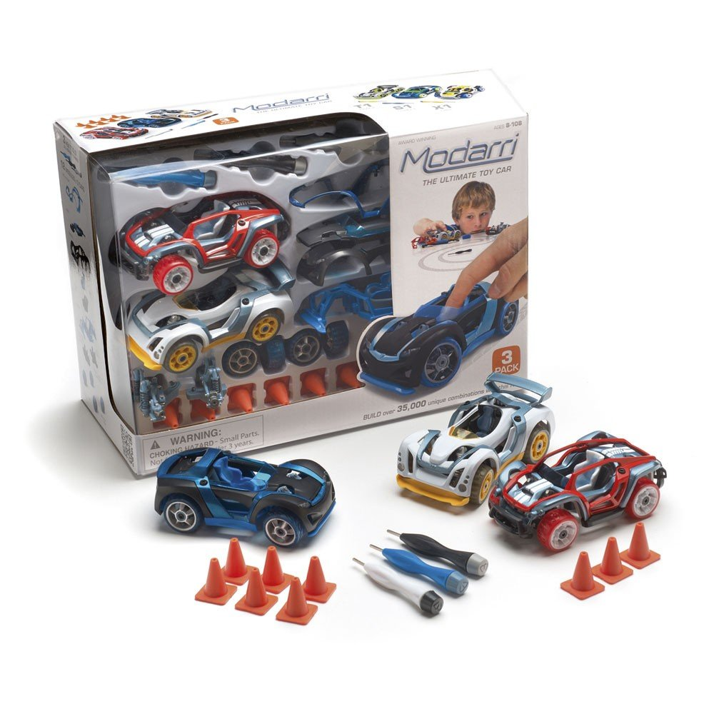 Modarri 3 Pack includes S1 Street Car, X1 Dirt Car and T1 Track Car by Thoughtful Toys