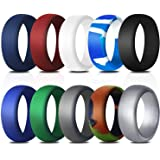 Elimoons Silicone Wedding Ring for Men, 10 Pack Affordable Silicone Rubber Wedding Bands Durable Comfortable Rings, Black White Blue Silver Gray