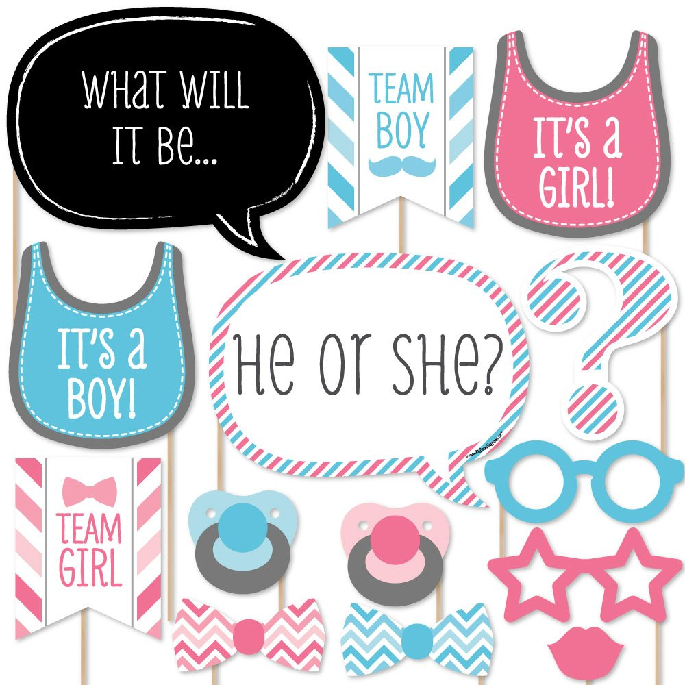 Chevron Baby Gender Reveal - Photo Booth Props Kit - 20 Count   B00QMWAE9M