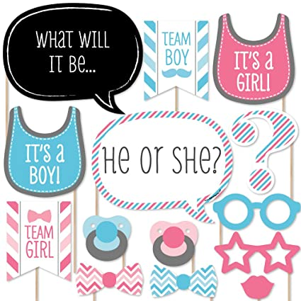 Amazoncom Big Dot Of Happiness Chevron Baby Gender Reveal Photo