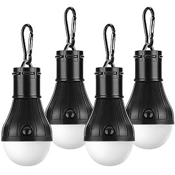 PEYOU Tienda de campaña Luces, [4 Unidades] Portátil Bombilla LED ...