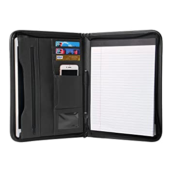 TYSON Padfolio Portfolio Leather Zippered Writing Pad With Pockets And Card  Holders For Resume Document And  Resume Holders
