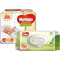 Huggies Ultra Soft for New Baby XS Size Diapers (22 Count) and Huggies Cucumber and Aloe Vera Baby Wipes (72 Count)