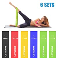 LETSCOM Resistance Loop Bands, Exercise Bands for Strength Training, Physical Therapy, Home Gym Fitness Exercise, Yoga, Rehab, Workout Elastic Loop Band with Carry Bag for Women Men
