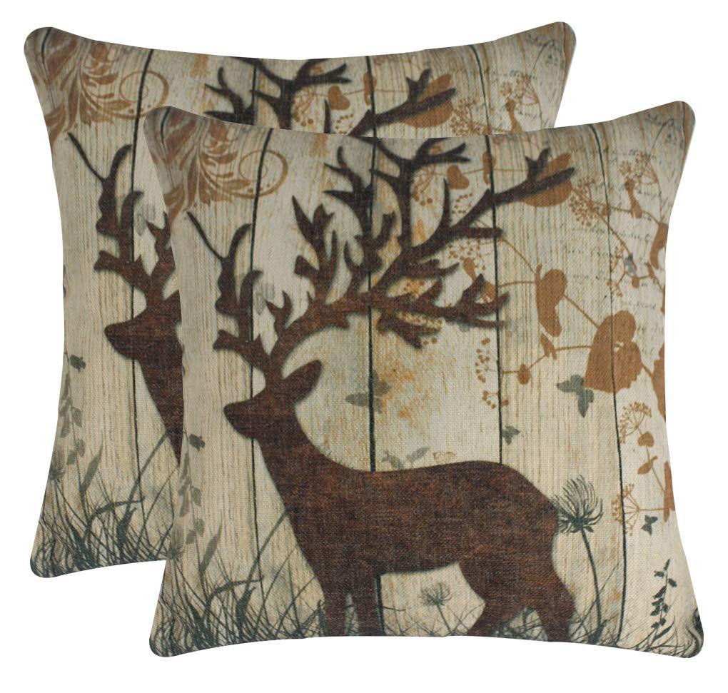 Jinbeile Vintage Throw Pillow Covers Cotton Linen Wood Grain Bush Background Elk Pillowcase Decorative 18 X 18 Inches Square Cushion Cover 2 Pcs Brown Left