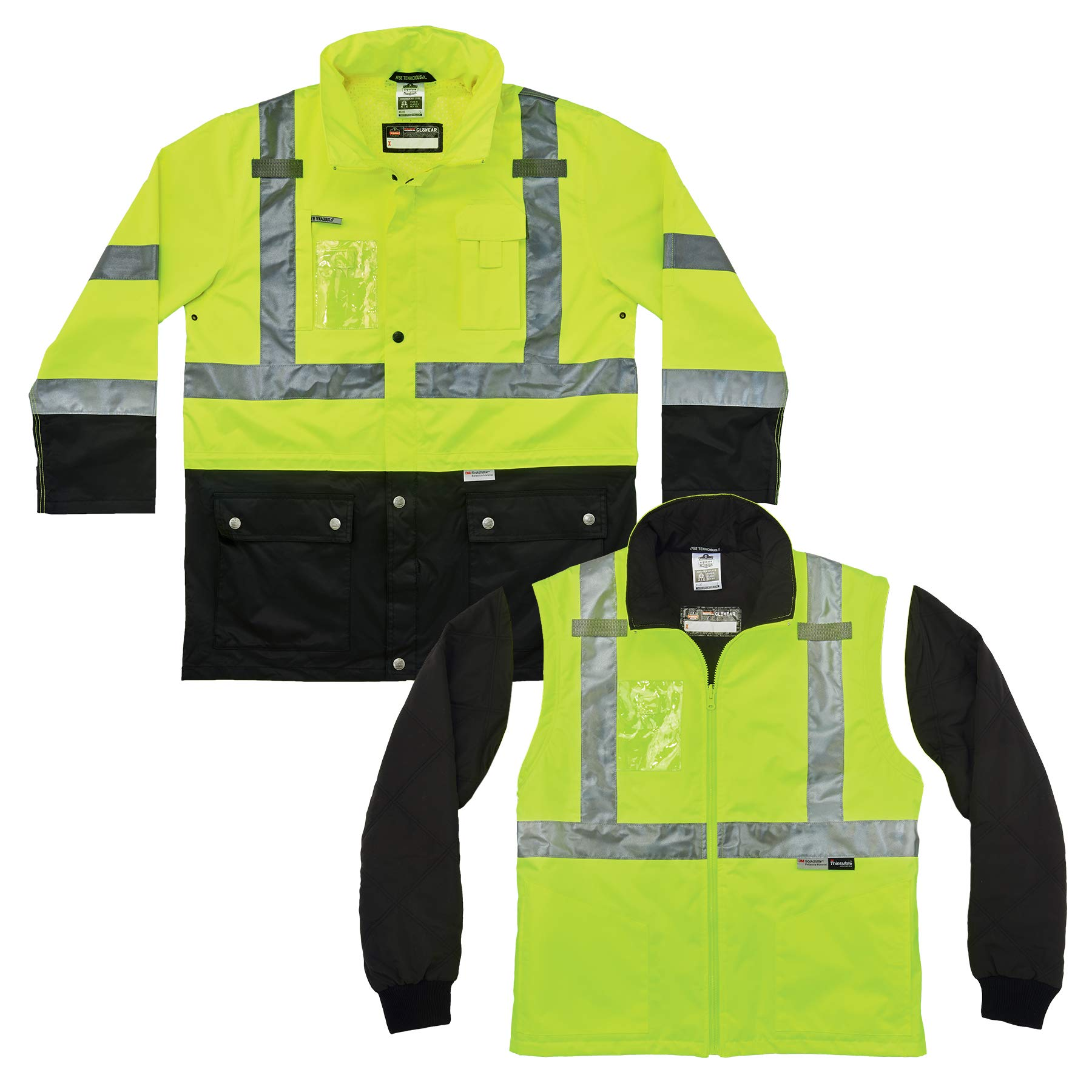 High Visibility Reflective Thermal Jacket Set, Includes Outer Rain Shell & Thermal Jacket with Zip Off Sleeves, Ergodyne GloWear 8388