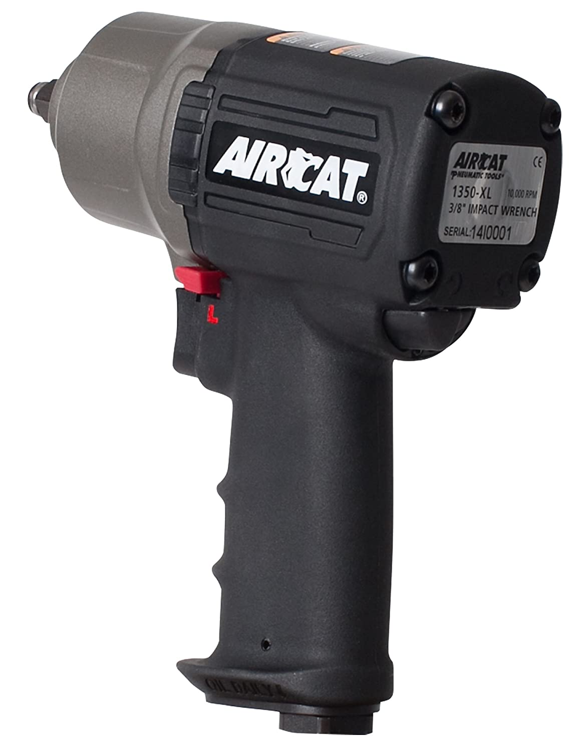 AIRCAT 1350-XL Composite High-Low Torque Impact Wrench, 3 8-Inch, Black Titanium
