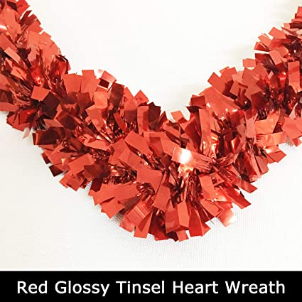 Joysail Valentine Wreaths for Front Door Red Heart Wreath for Valentines Day Decorations Outdoor Indoor 16 inch Artificial Heart Shaped Wreath/for Party Wall Decor