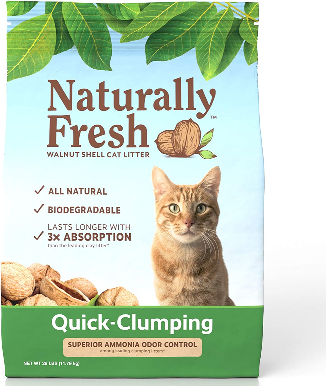 Naturally Fresh Walnut-Based Quick-Clumping Cat Litter, Unscented, 26-lb bag
