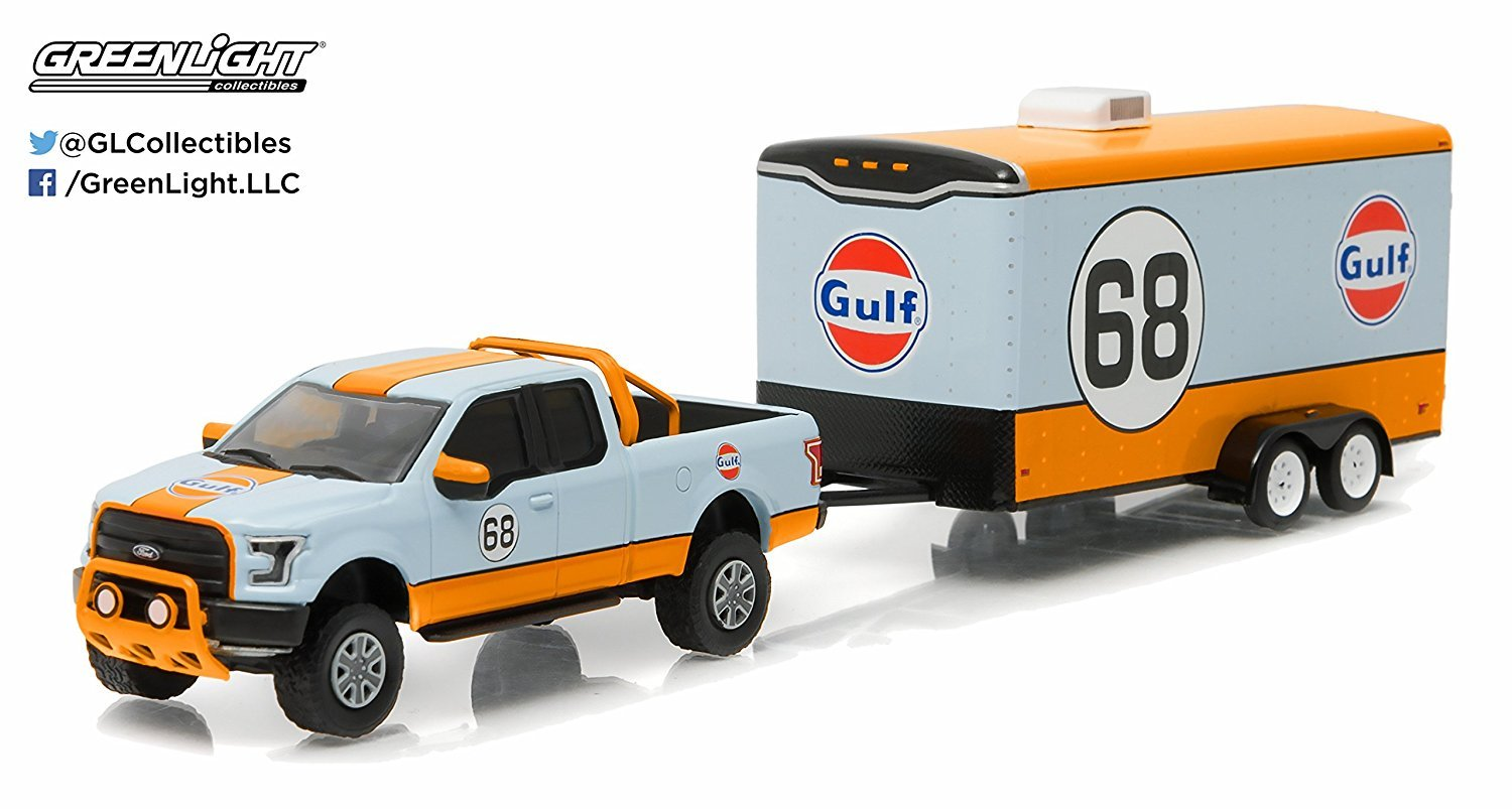 Greenlight 164 Hitch Tow 7 2015 Ford F 150 Gulf Oil 1954 Truck 66 And Car Hauler Toys Games