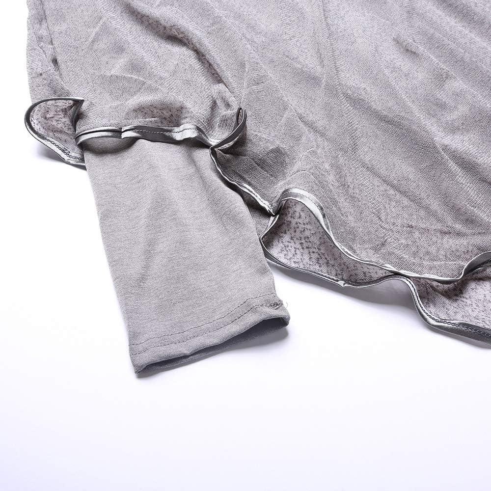 GWE Womens Long Sleeve Casual Loose Dress Irregular Two Piece Skirt