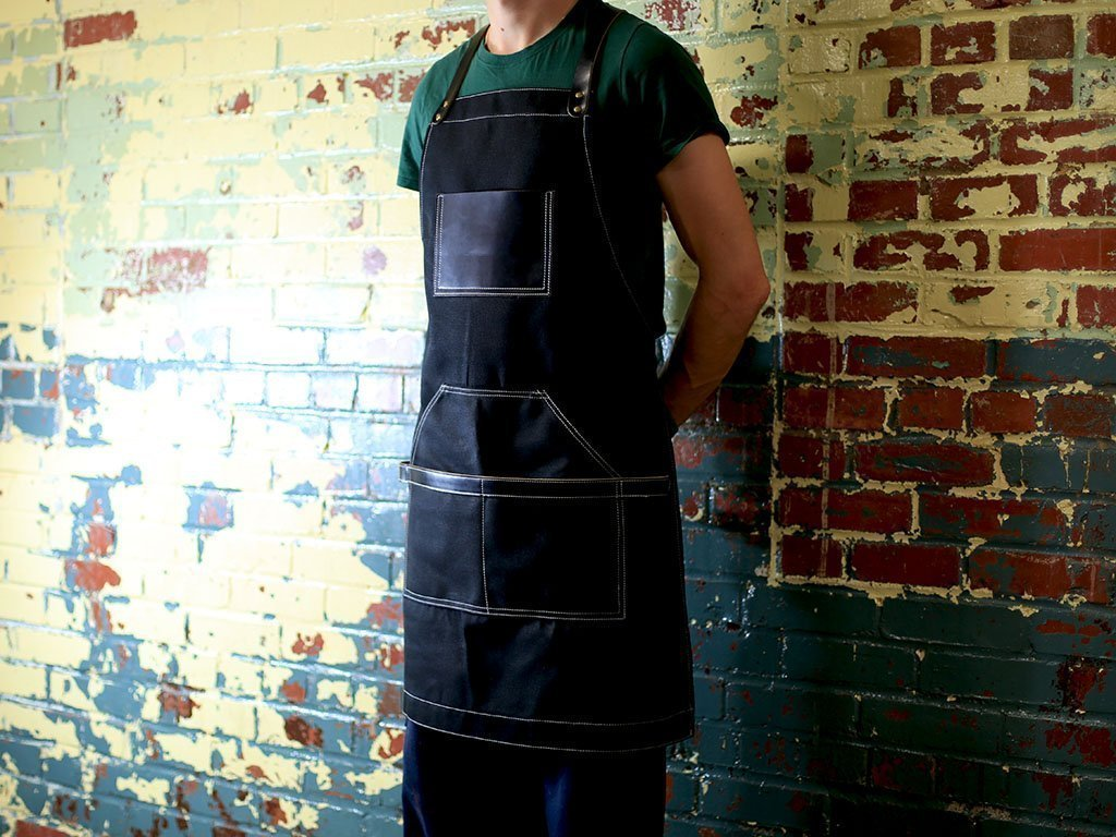 Black Apron in Waxed Canvas and Leather with Cross Straps Adjustable for Most Waist Sizes for Men Women Personalized Vintage Heavy Duty Apron for Butcher, Barber, Metal Working Handmade in USA by OleksynPrannyk