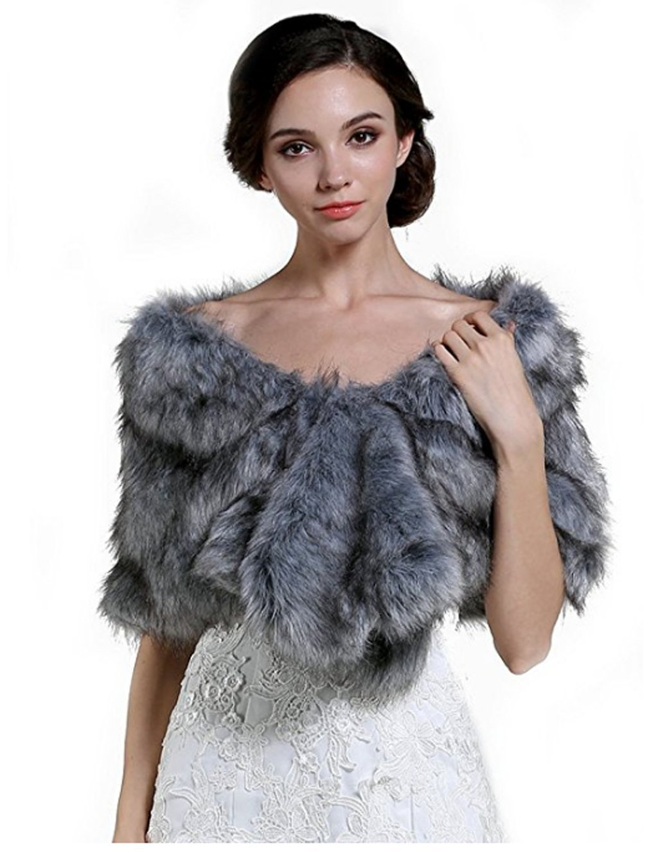 Aukmla Wedding Faux Fur Wraps and Shawls Bridal Fur Wrap and Shawl for Women (Grey)