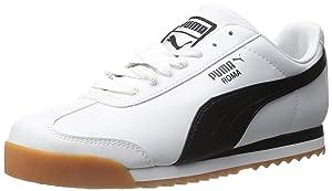 PUMA Men's Roma Basic Lace-Up Fashion Sneaker, White/Black, 9 M US