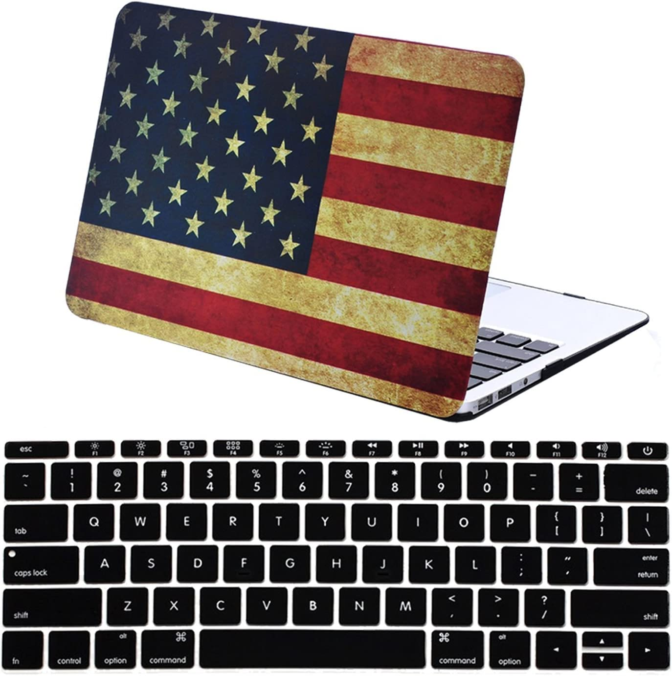 New MacBook Air 13 Inch Case with Touch ID & Retina Display Model A1932, iZi Way American Flag Pattern Hard Shell Cover with Keyboard Cover - US Flag