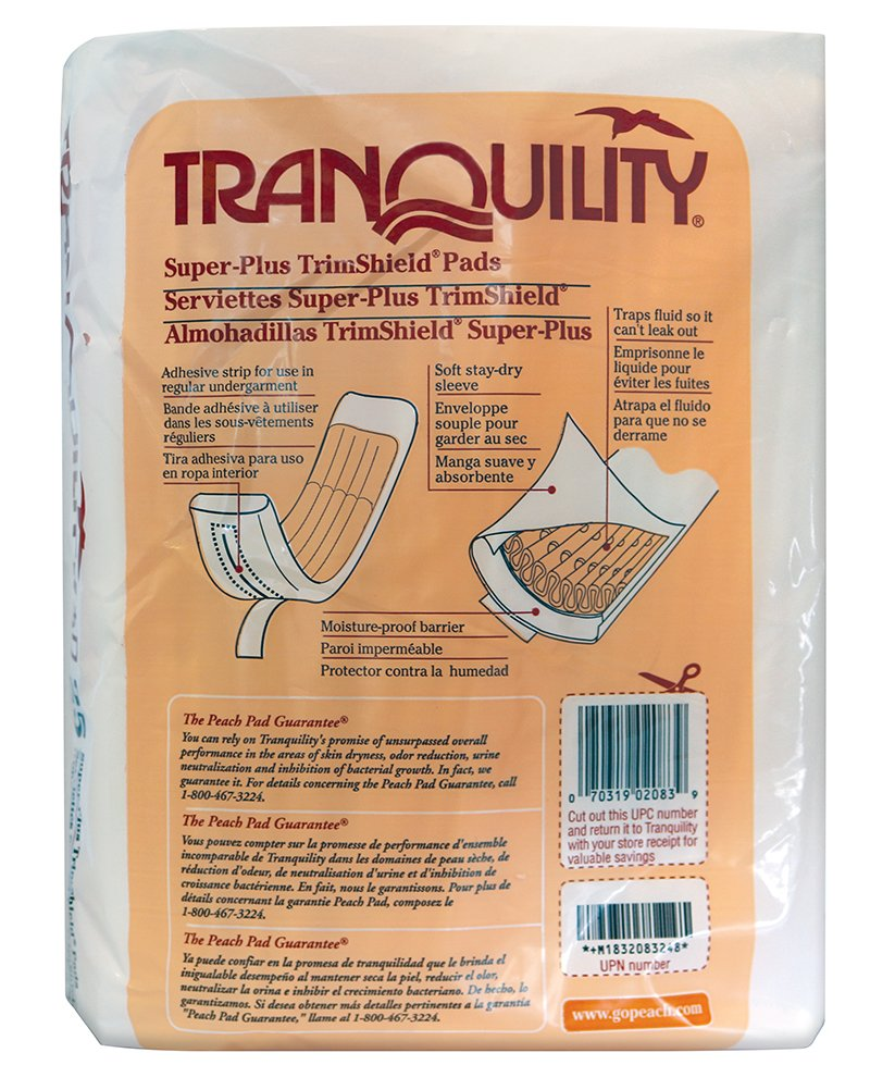 Amazon.com: Tranquility TrimShield Adult Incontinence Pads for Men or Women - Super-Plus - 25 ct: Health & Personal Care