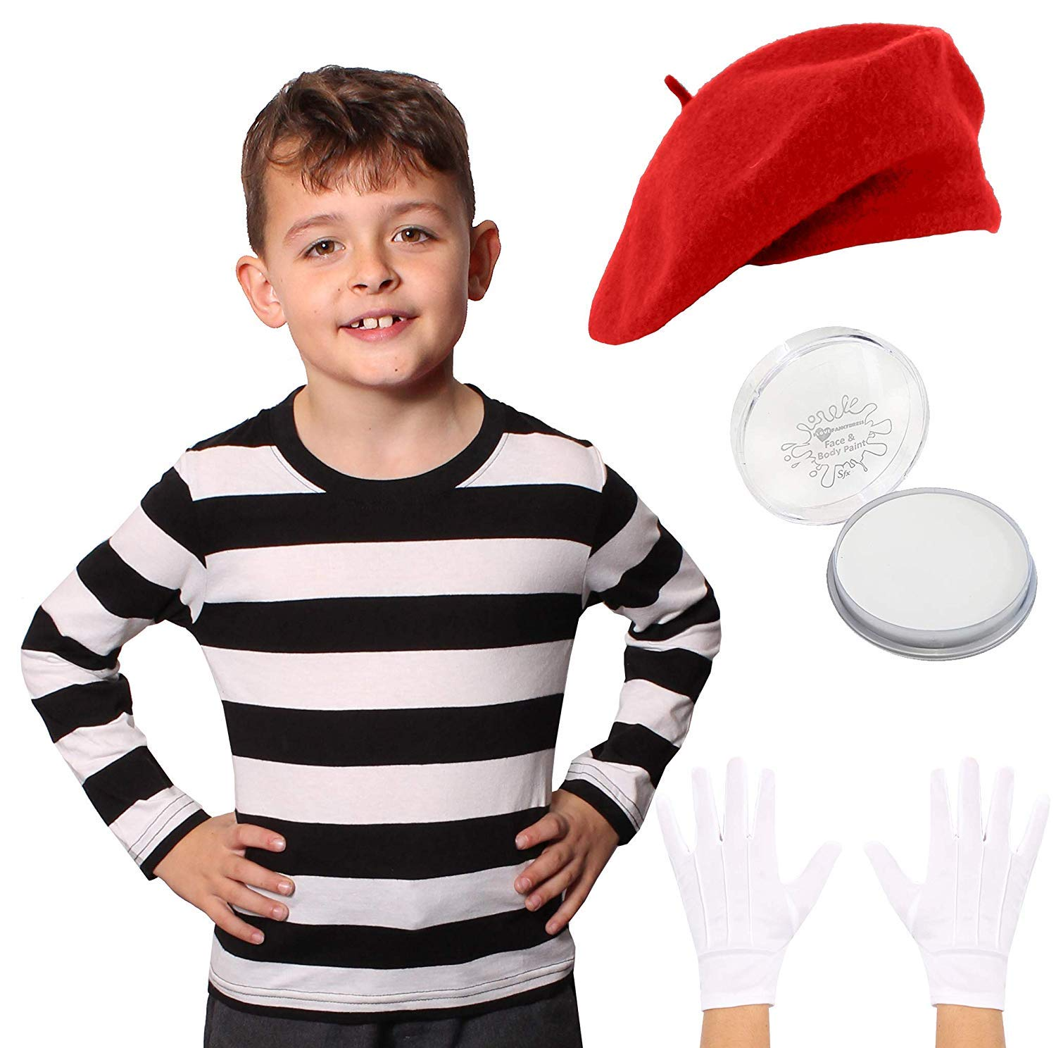 FRENCH MIME ARTIST FANCY DRESS COSTUME T-SHIRT RED BERET HAT GLOVES FACE PAINT