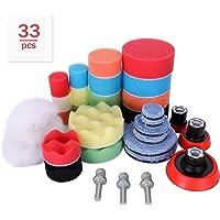 Aimocar Polijstspons kit met polijstpad voor auto, 33 stuks handpolijstpads spons wol polijstset klittenband 30 mm 50 mm…