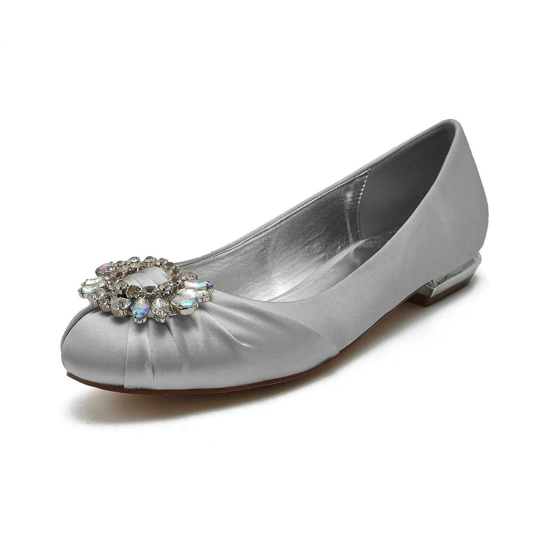 Zxstz Damenschuhe Satin Comfort Basic Pump Hochzeitsschuhe Kitten Heel Spitz Strass Hochzeit Schuhe