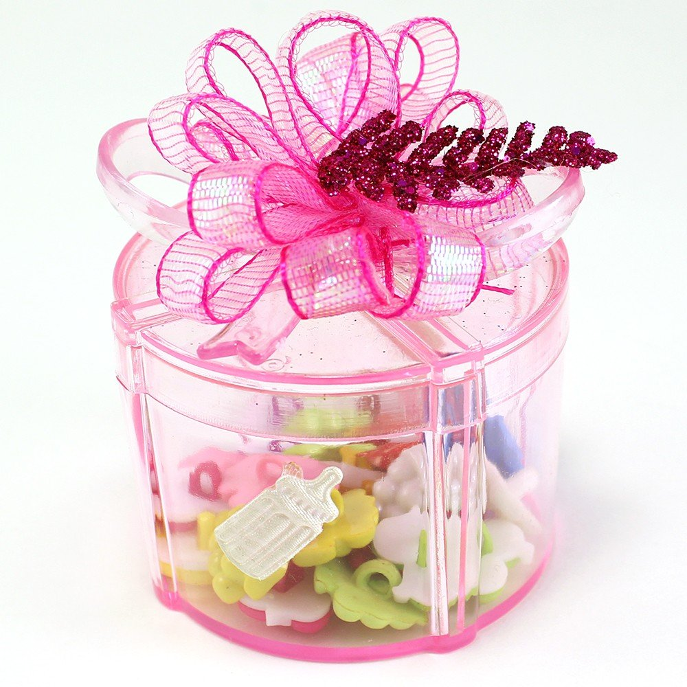 Amazon.com : Clear Round Gift Box With Bow Plastic Favor Box (pack ...