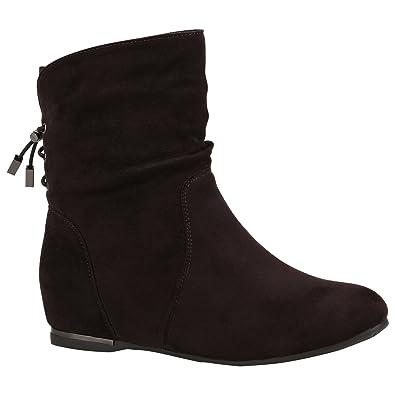 Damen Schuhe Stiefeletten Keilstiefeletten Gefütterte Stiefel Wedges 152218  Dunkelbraun Metallic 36 Flandell 43d21573ce