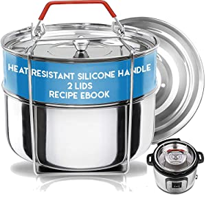 Stackable Instant Pot Insert - Pressure Cooker Accessories- Steamer Inserts Pans -Instant Pot Accessories 6 Qt | 2 Lids- Food Steamer w/Sling for Baking, Reheating Recipe e-Book & Safety Handle