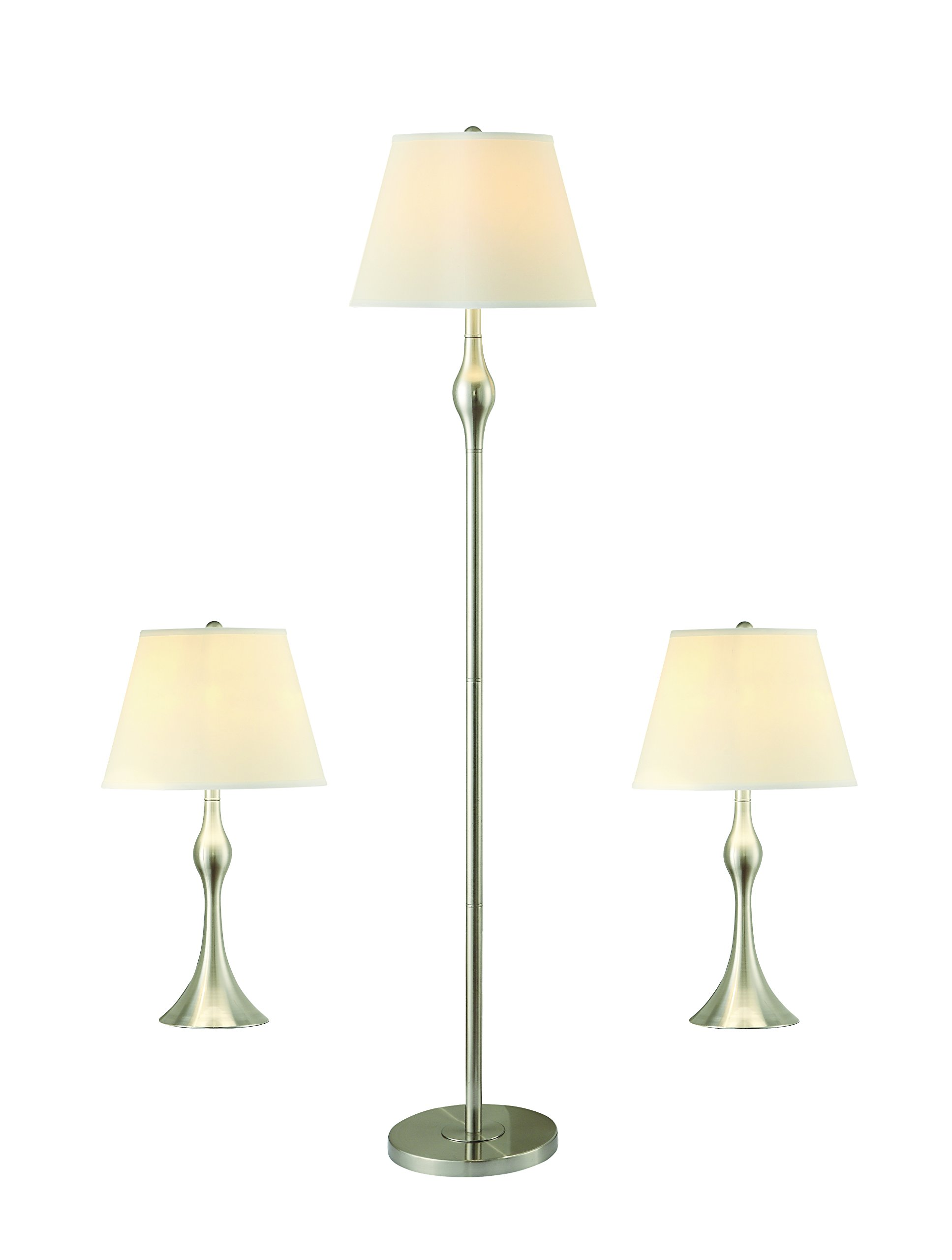 Coaster 901235 Home Furnishings 3 Piece Lamp Set, Brushed Silver