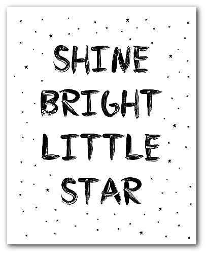 Amazon.com: Shine Bright Little Star Print, Nursery Quote ...