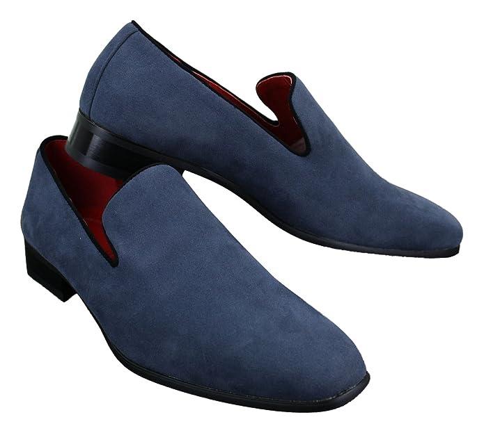 9d8033f0dfee3 Chaussure Mocassin pour Homme en Daim en Couleur Bleu Rouge Noir Chic et  décontractée  Amazon.fr  Chaussures et Sacs