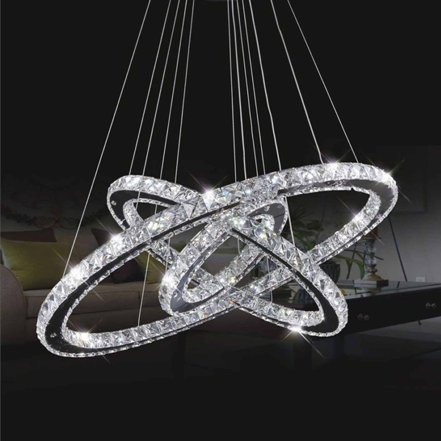 Crystal ceiling light topmax led pendant light 30 50 70 cm 3 crystal ceiling light topmax led pendant light 30 50 70 cm 3 rings crystal chrome cold white a amazon kitchen home mozeypictures Choice Image