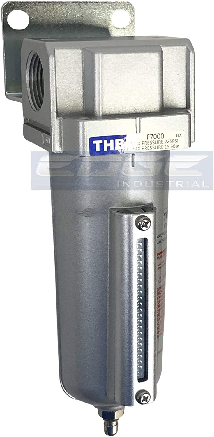 5 Micron Element 140 CFM 3//4 NPT Ports T-H-B CO EDGE INDUSTRIAL Heavy Duty HIGH Flow Compressed AIR in-LINE PARTICULATE Filter with Metal Bowl Visible Sight Glass