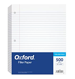 """Oxford Filler Paper, 8-1/2"""" x 11"""", College Rule, 3-Hole Punched, Loose-Leaf Paper for 3-Ring Binders, 500 Sheets Per Pack (62349)"""
