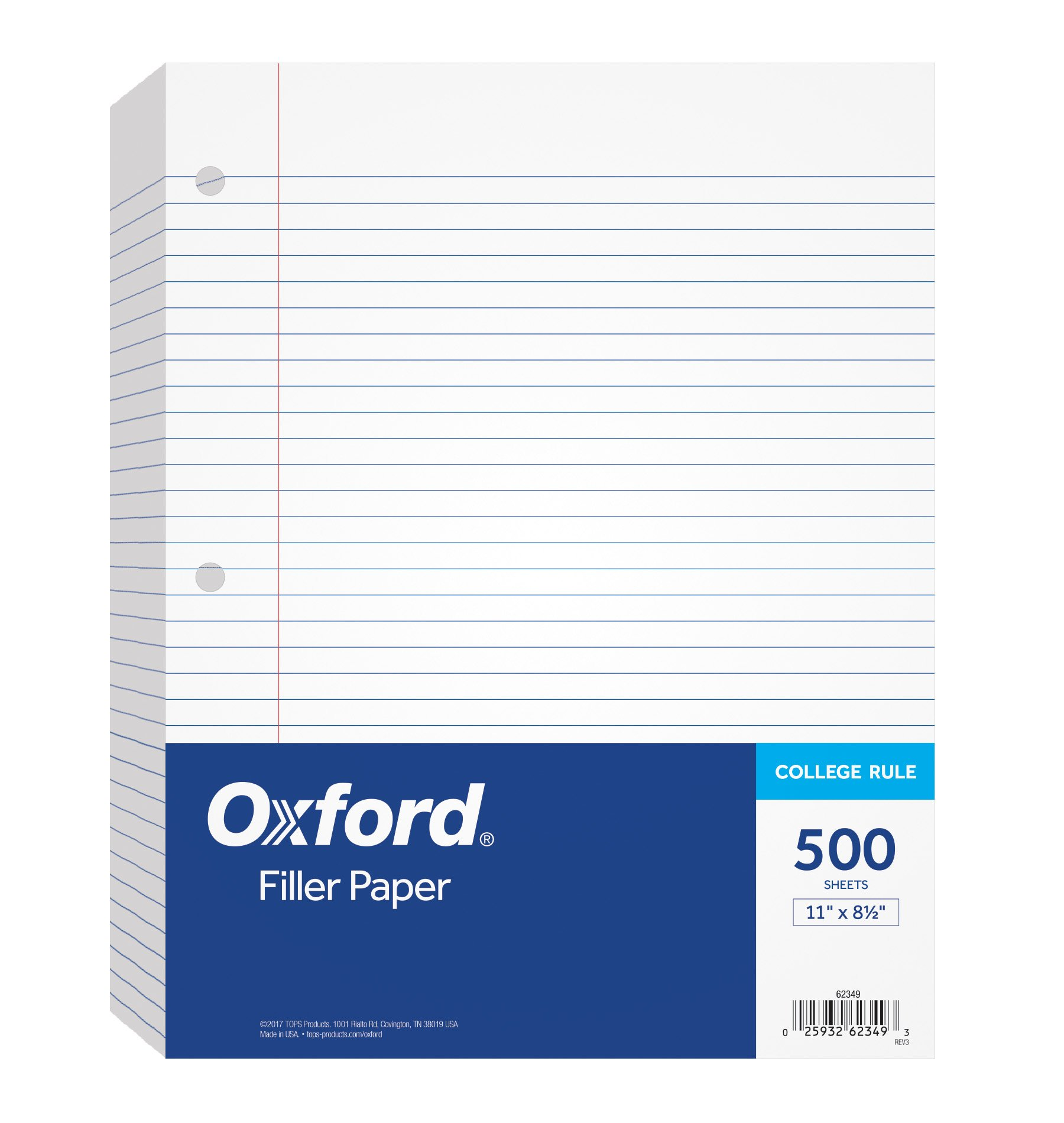 Oxford Filler Paper, 8-1/2'' x 11'', College Rule, 3-Hole Punched, Loose-Leaf Paper for 3-Ring Binders, 500 Sheets Per Pack (62349)