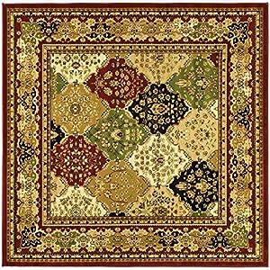 Safavieh Lyndhurst Collection LNH221B Multi And Red Square Area Rug, 8 Feet  Square (8u0027 Square)