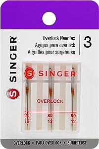 SINGER 2151 Universal Regular Point Overlock Machine Needles for Woven Fabric, Size 80/12, 3-Count
