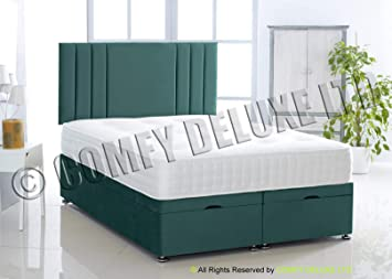 Fabulous Ottoman Bed Side Lift Plush Velvet Base And Savannah Headboard By Comfy Deluxe Ltd Mallard Green 4Ft Small Double Ibusinesslaw Wood Chair Design Ideas Ibusinesslaworg