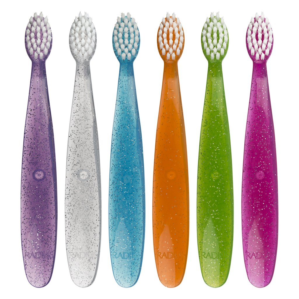 RADIUS Totz Toothbrush with Extra Soft Bristles For 18 Months and Above, Assorted Colors, 6 Count