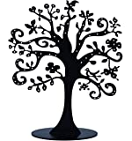 Jewelry Tree Stand Metal Jewelry Organizer Holder Display for Earrings Bracelets Necklaces (Black)