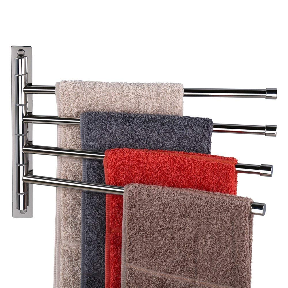 H&Store Wall Mounted Bathroom Swivel Towel Rack - Perfect Stainless Steel Towel Holder with 4 arms - (10'' x 17'')