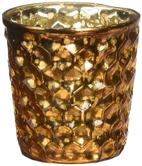 Insideretail Mercury Glass Star Tea Light Holders with Distressed Orange Foil 7cm x 7cm x 4.5cm Set of 24
