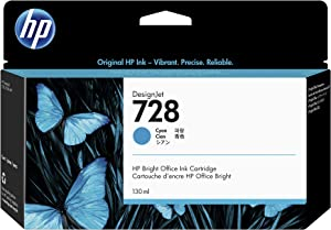 HP 728 Cyan 130-ml Genuine Ink Cartridge (F9J67A) for DesignJet T830 MFP & T730 Large Format Plotter Printers